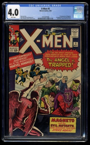 X-Men #5 CGC VG 4.0 White Pages 3rd Magneto! 2nd Scarlet Witch! Marvel Comics