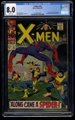 X-Men #35 CGC VF 8.0 White Pages Spider-Man! 1st Changeling! Marvel Comics