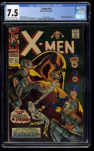 X-Men #33 CGC VF- 7.5 Off White to White Juggernaut! Marvel Comics