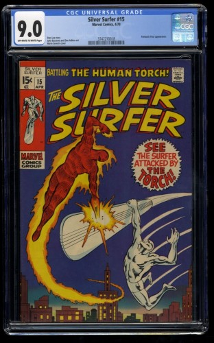 Silver Surfer #15 CGC VF/NM 9.0 Off White to White Vs Human Torch! Marvel Comics