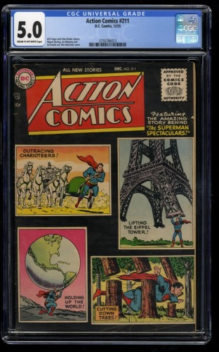 Action Comics #211 CGC VG/FN 5.0 Cream To Off White Planet Earth Photoshoot!