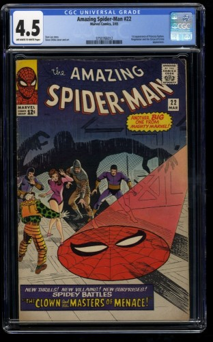 Amazing Spider-Man #22 CGC VG+ 4.5 Off White to White 1st Princess Python!