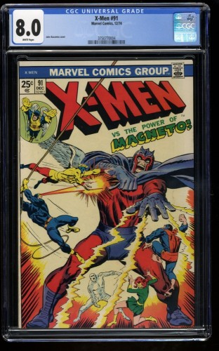 X-Men #91 CGC VF 8.0 White Pages Magneto! Marvel Comics