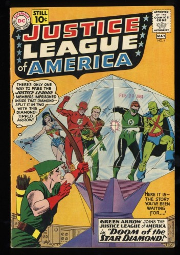Justice League Of America #4 FN/VF 7.0 Green Arrow Joins! DC Comics