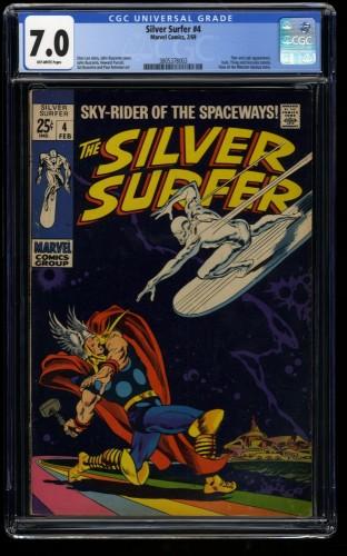 Silver Surfer #4 CGC FN/VF 7.0 Off White vs Thor! Marvel Comics