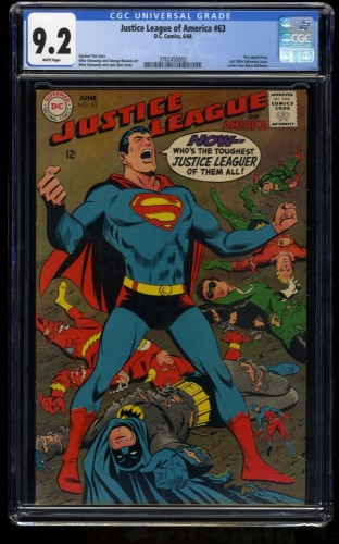 Justice League of America #63 CGC NM- 9.2 White Pages DC Comics