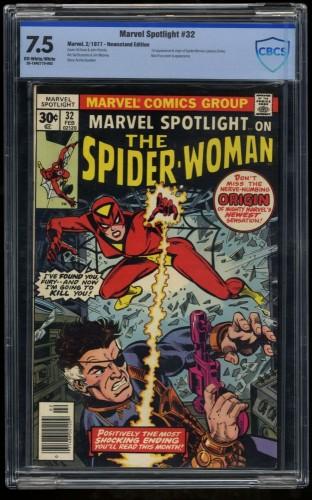 Marvel Spotlight #32 CBCS VF- 7.5 Off White to White 1st Spider-Woman! Comics