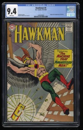 Hawkman #4 CGC NM 9.4 White Pages 1st Zatanna!