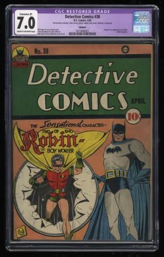 Detective Comics #38 CGC FN/VF 7.0 Cream To Off White (Restored) 1st Robin!