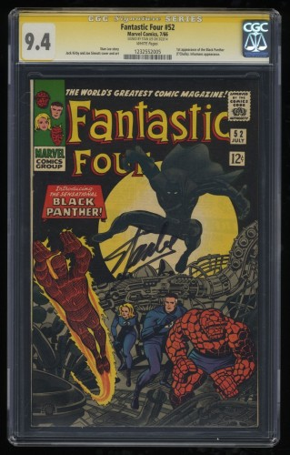 Fantastic Four #52 CGC NM 9.4 White Pages 1st Black Panther! SS Signed Stan Lee!