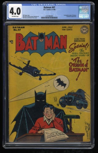 Batman #47 CGC VG 4.0 Off White Origin - Key Issue!