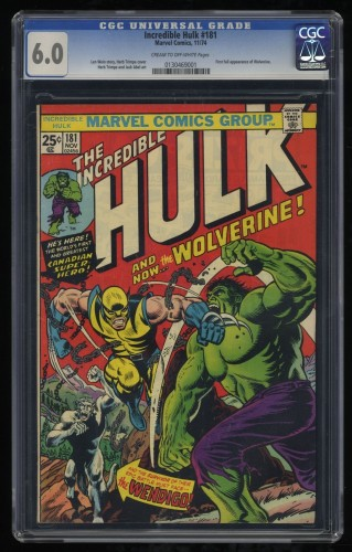 Incredible Hulk (1968) #181 CGC FN 6.0 Cream To Off White 1st Wolverine!