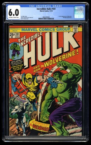 Incredible Hulk (1968) #181 CGC FN 6.0 Off-White to White Pages 1st Wolverine!