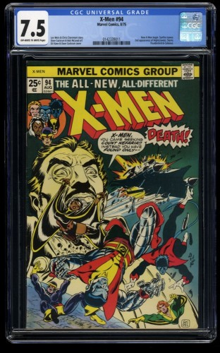 X-Men #94 CGC VF- 7.5 Off White to White New Team Begins!