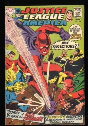 Justice League Of America #64 FN 6.0 1st Silver Age Red Tornado! DC Comics