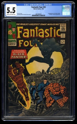 Fantastic Four #52 CGC FN- 5.5 Cream To Off White 1st Black Panther!