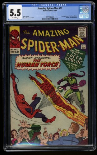 Amazing Spider-Man #17 CGC FN- 5.5 Off White 2nd Green Goblin!