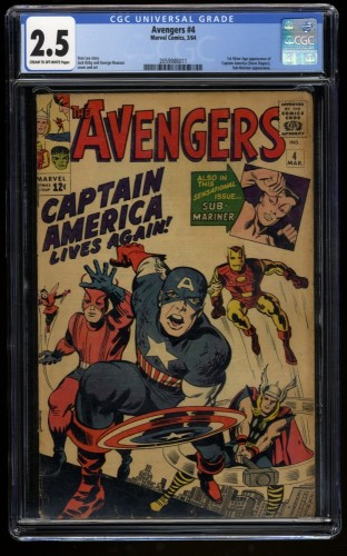 Avengers #4 CGC GD+ 2.5 Cream To Off White 1st Silver Age Captain America!