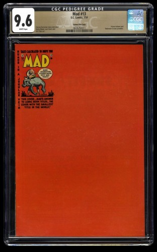 Mad #13 CGC NM+ 9.6 White Pages Gaines File Copy 1st Print