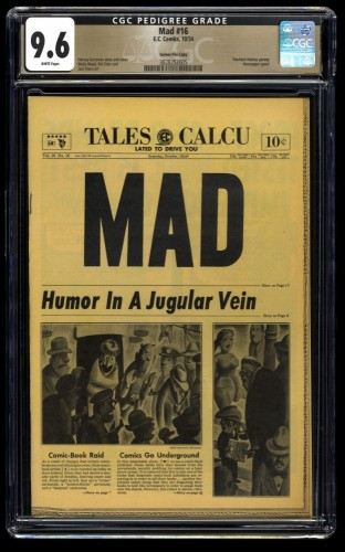 Mad #16 CGC NM+ 9.6 White Pages Gaines File Copy 1st Print