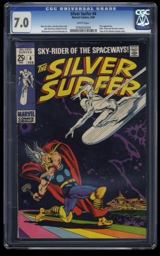 Silver Surfer #4 CGC FN/VF 7.0 White Pages 1st Print vs Thor!