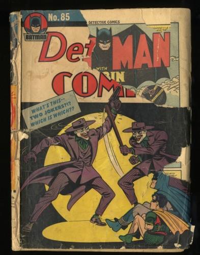 Detective Comics #85 Low Grade Complete and Unrestored 2 Jokers Cover!
