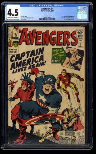 Avengers #4 CGC VG+ 4.5 1st Silver Age Captain America!
