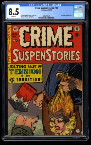 Crime Suspenstories #22 CGC VF+ 8.5 White Pages Classic Decapitation Cover!