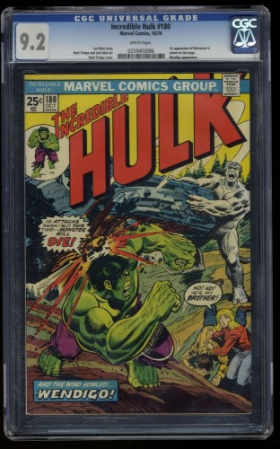 Incredible Hulk (1968) #180 CGC NM- 9.2 White Pages 1st Cameo Wolverine!