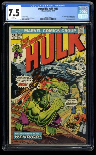 Incredible Hulk (1968) #180 CGC VF- 7.5 White Pages 1st Cameo Wolverine!