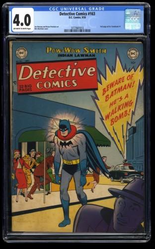Detective Comics (1937) #163 CGC VG 4.0 Off White to White