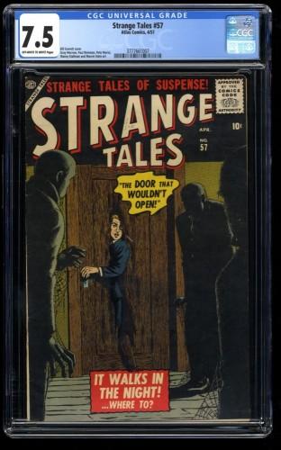 Strange Tales #57 CGC VF- 7.5 Off White to White 1st Print