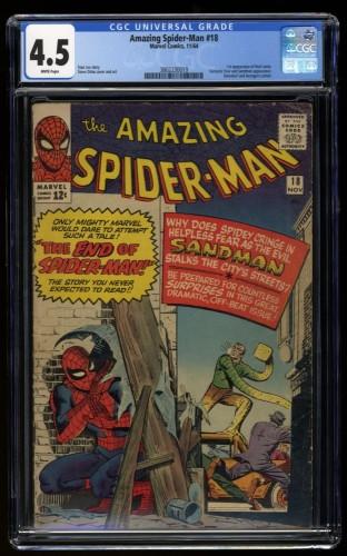 Amazing Spider-Man #18 CGC VG+ 4.5 White Pages Sandman!