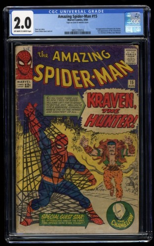 Amazing Spider-Man #15 CGC GD 2.0 Off White to White 1st Kraven the Hunter!