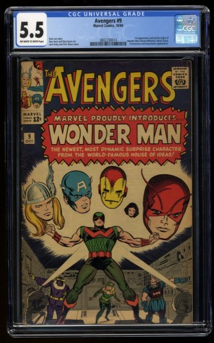Avengers #9 CGC FN- 5.5 Off White to White 1st Silver Age Wonder Man!