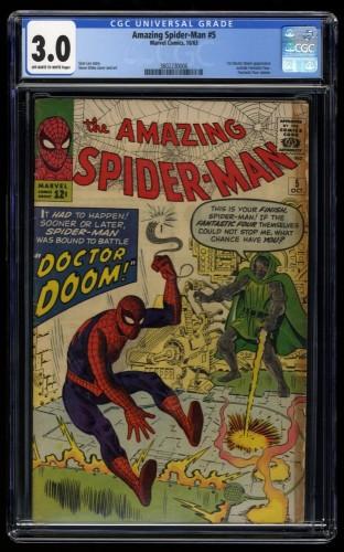 Amazing Spider-Man #5 CGC GD/VG 3.0 Off White to White Doctor Doom!
