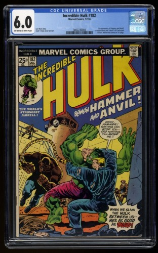 Incredible Hulk (1962) #182 CGC FN 6.0 Off White to White 2nd Full Wolverine!