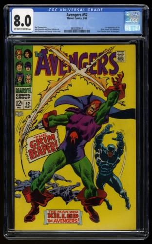 Avengers #52 CGC VF 8.0 Off White to White 1st Print 1st Grim Reaper!