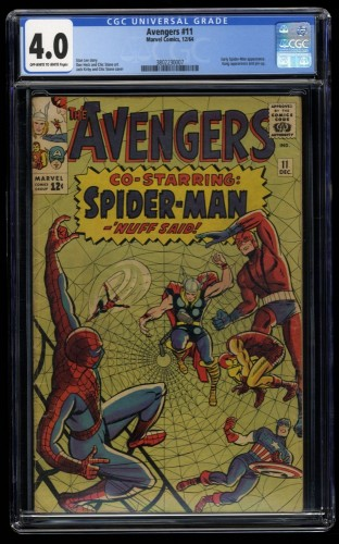 Avengers #11 CGC VG 4.0 Off White to White Spider-Man Crossover!