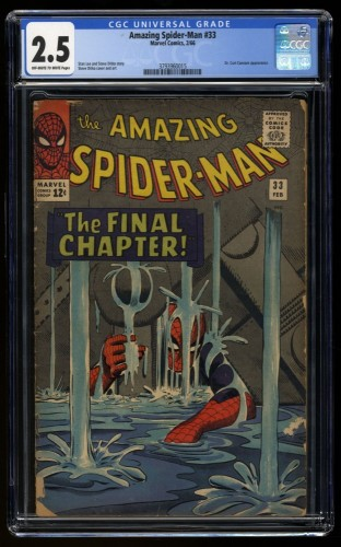Amazing Spider-Man #33 CGC GD+ 2.5 Off White to White Classic Cover!