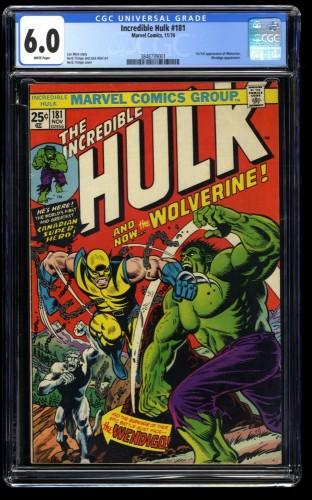 Incredible Hulk (1962) #181 CGC FN 6.0 White Pages 1st Wolverine!