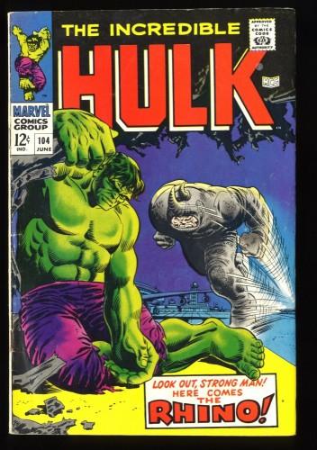 Incredible Hulk #104 VG/FN 5.0 vs Rhino!