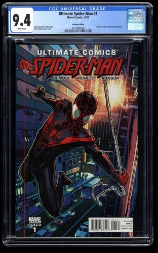 Ultimate Spider-Man #1 CGC NM 9.4 1:30 Pichelli Variant Miles Morales!