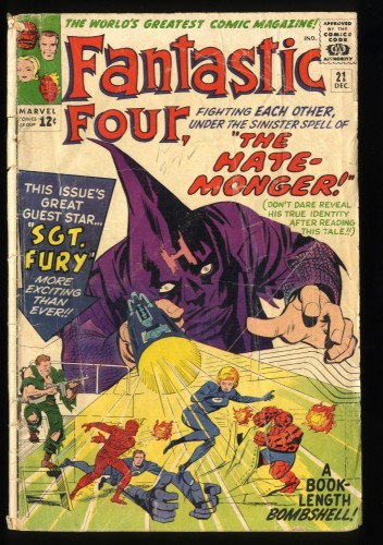 Fantastic Four #21 FA/GD 1.5 Marvel Comics