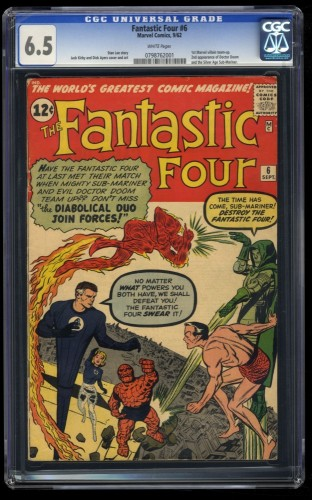 Fantastic Four #6 CGC FN+ 6.5 White Pages 2nd Doctor Doom!