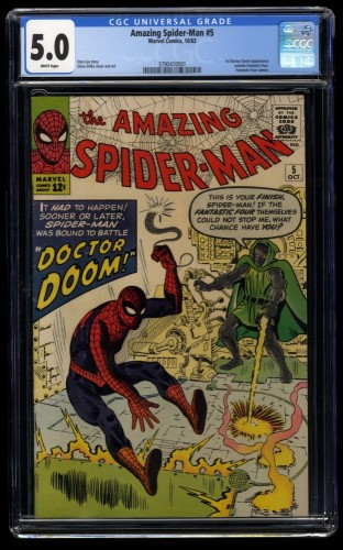 Amazing Spider-Man #5 CGC VG/FN 5.0 White Pages Doctor Doom!