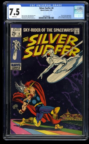 Silver Surfer #4 CGC VF- 7.5 White Pages vs Thor!