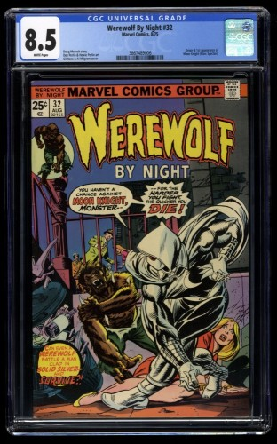 Werewolf By Night #32 CGC VF+ 8.5 White Pages 1st Moon Knight!