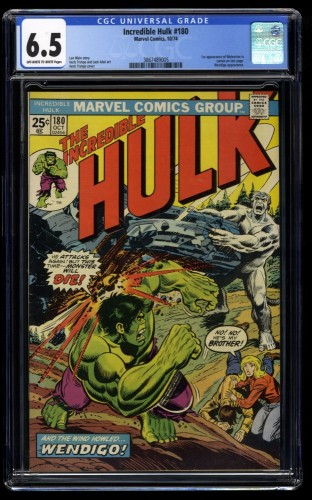 Incredible Hulk #180 CGC FN+ 6.5 Off White to White 1st Cameo Wolverine!