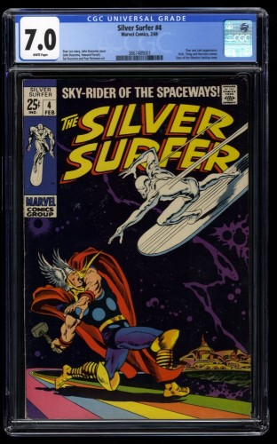 Silver Surfer #4 CGC FN/VF 7.0 White Pages vs Thor!